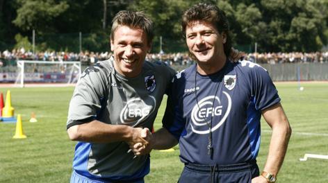 Antonio Cassano e Walter Mazzarri ai tempi della Samp (foto dalla rete)