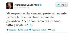 Tweet di De Laurentiis