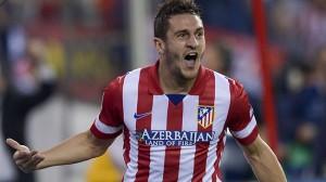 Koke festeggia il gol al Barcellona  (foto www.centraldeportiva.com)