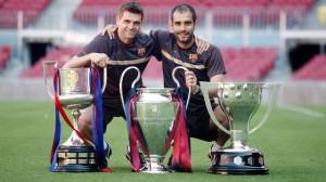 Tito Vilanova (a sinistra) con Guardiola al Barcelona