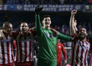 L'Atletico Madrid festeggia il passaggio alla Finale  (foto www.elpais.com)