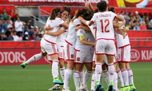 La nazionale femminile spagnola celebra il gol di Vero Boquete contro la Corea del Sud della scorsa settimana  (fonte foto www.revistaelitesport.es)