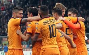 L'esultanza dei giocatori del Cagliari (foto dal web)