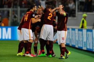 I festeggiamenti dopo un gol della Roma (foto dal web)