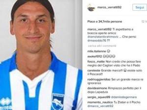 La foto di Ibrahimovic con la maglia del Pescara nel profilo di Verratti