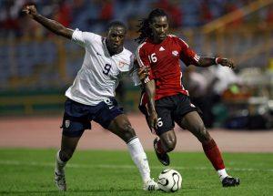 Silvio Spann in una partita con nazionale di Trinidad e Tobago