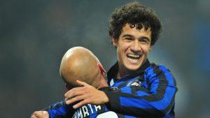 L'esultanza di Coutinho con la maglia dell'Inter